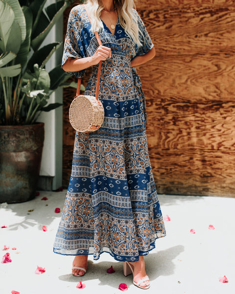 Cornflower Wrap Kimono Maxi Dress - FINAL SALE