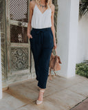 Splendid Pocketed Tie Pants - Navy