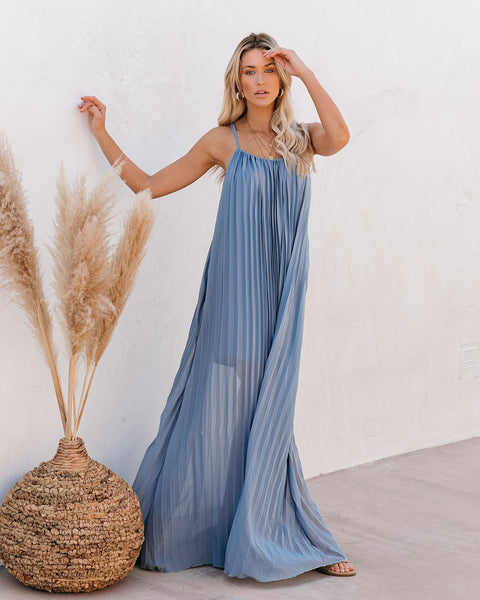 Cosmopolitan Pleated Maxi Dress - Blue