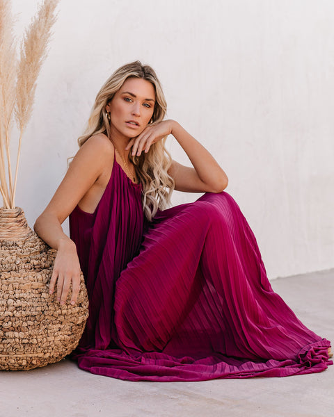 Cosmopolitan Pleated Maxi Dress - Magenta