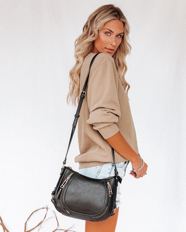 Sadie Faux Leather Crossbody Saddle Bag - Black view 2