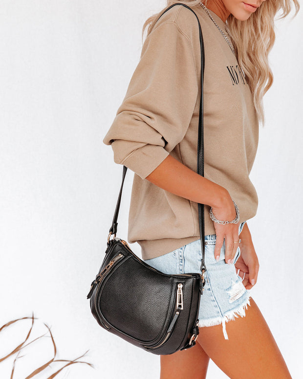 Sadie Faux Leather Crossbody Saddle Bag - Black view 1