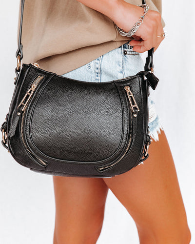 Sadie Faux Leather Crossbody Saddle Bag - Black