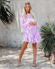 Cotton Candy Clouds Tie Dye Rope Tie Dress - FINAL SALE