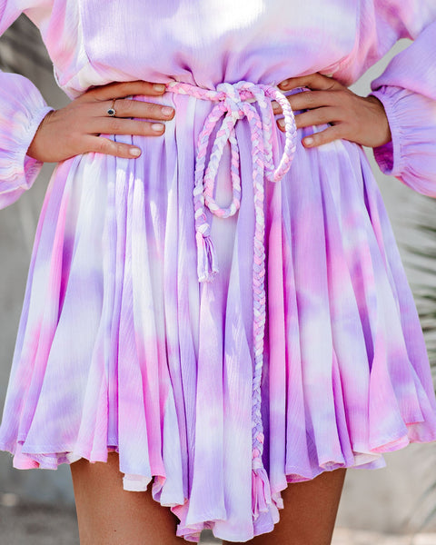 Cotton Candy Clouds Tie Dye Rope Tie Dress
