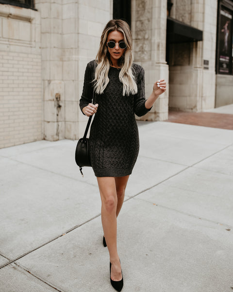 Meet Me In The Lodge Cable Knit Sweater Dress- Charcoal