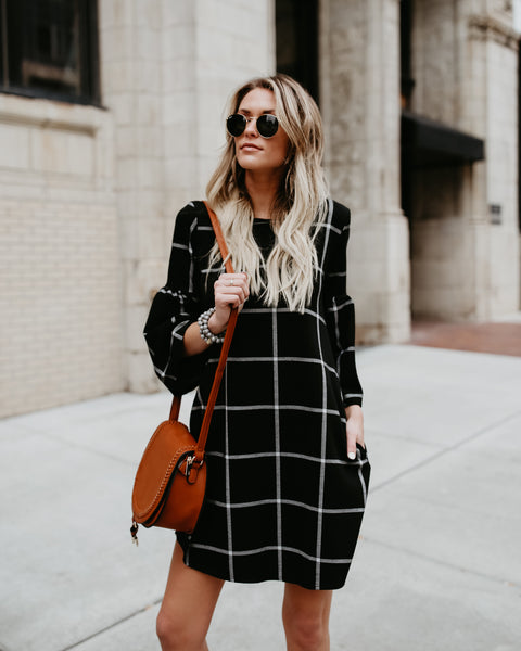 Eloise Plaid Pocketed Shift Dress
