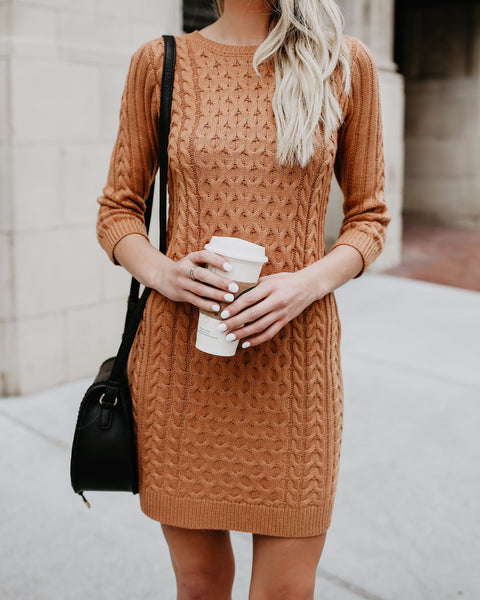 Meet Me In The Lodge Cable Knit Sweater Dress- Camel