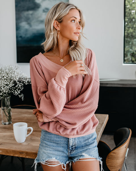 Country Roads Thermal Top - Silver Rose