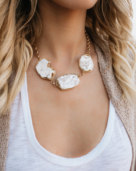Skipping Stones Statement Necklace - Ivory
