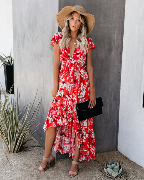 Cover Look Floral High Low Tie Maxi Dress - FINAL SALE