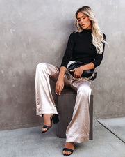 Cover Story Satin Flared Trousers - Champagne