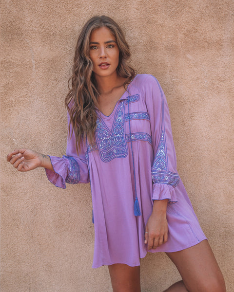 Cozumel Embroidered Dress - Violet
