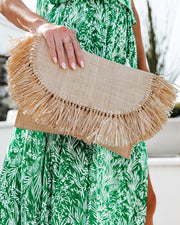 Cozumel Straw Fringe Clutch view 2