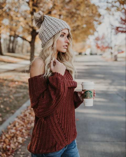 Cozy By The Fire Cotton Sweater - Red Bean