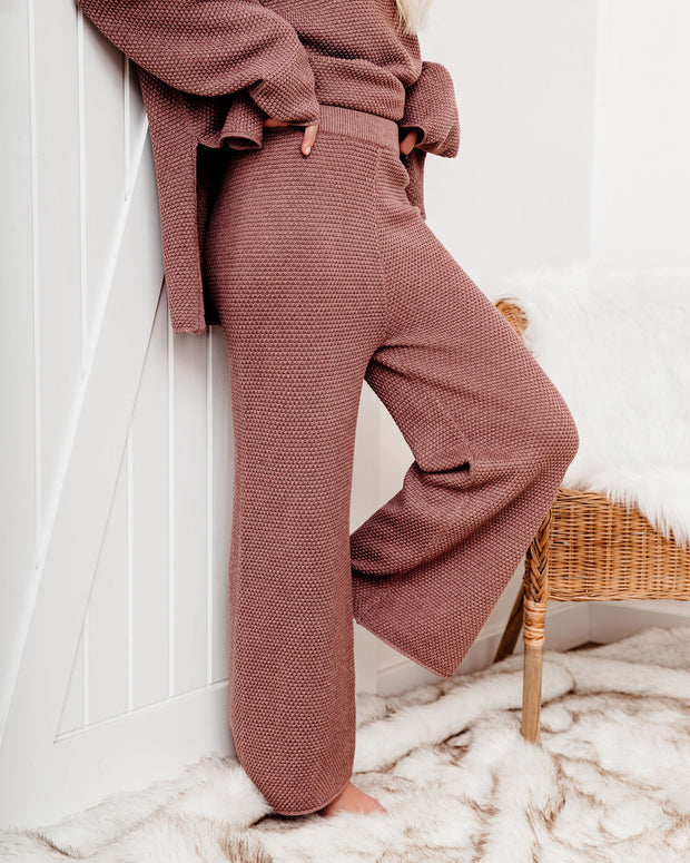Crack Of Dawn Cotton Blend Wide Leg Pants - Mocha - FINAL SALE view 3