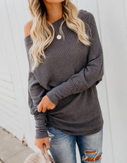 Crazy In Love Off The Shoulder Thermal Top - Charcoal - FINAL SALE