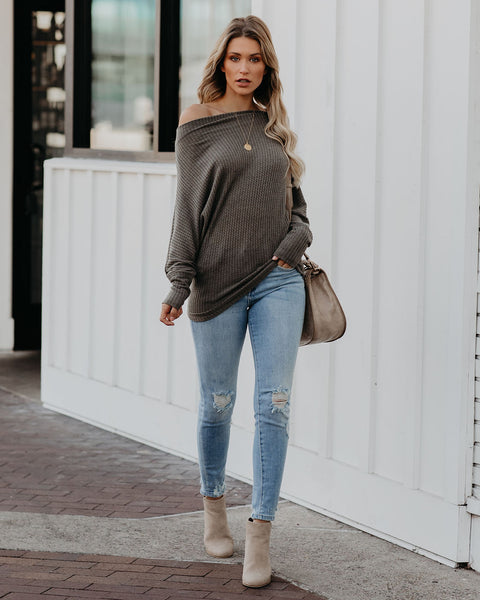 Crazy In Love Off The Shoulder Thermal Top - Grey Olive - FINAL SALE