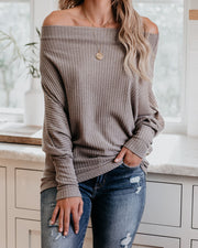 Crazy In Love Off The Shoulder Thermal Top - Taupe  - FINAL SALE