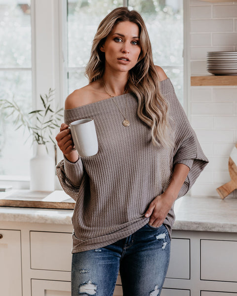 Crazy In Love Off The Shoulder Thermal Top - Taupe