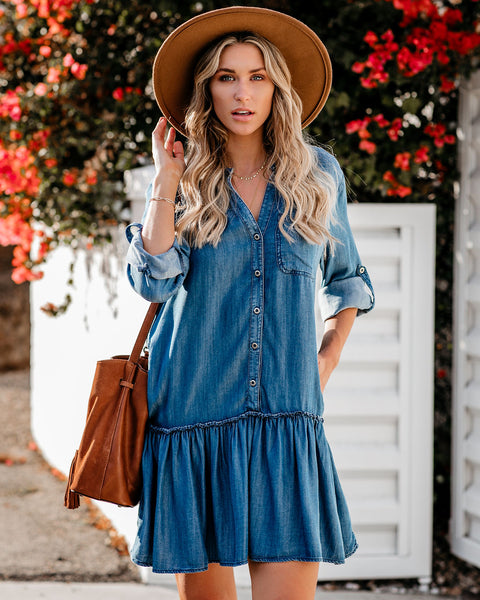 Creative Type Pocketed Tencel Button Down Dress