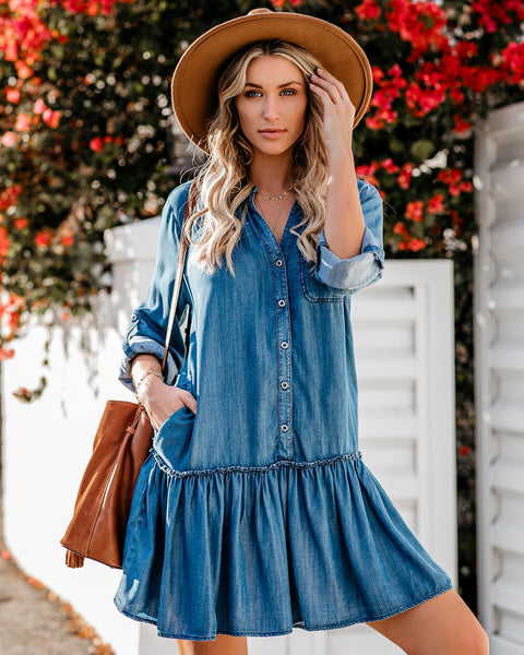 Creative Type Pocketed Tencel Button Down Dress - FINAL SALE