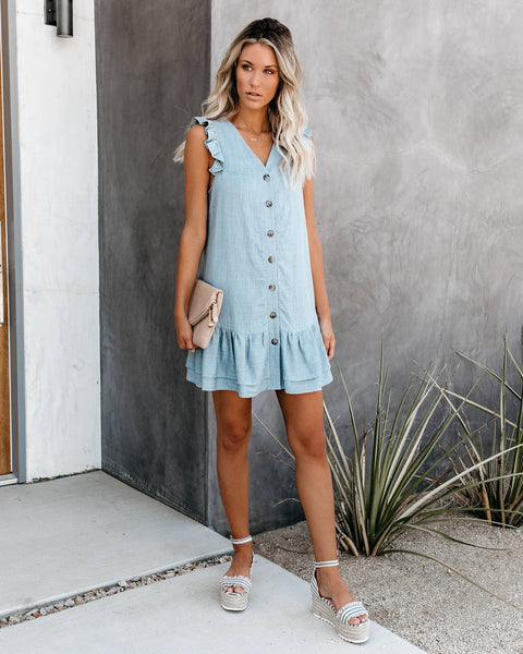 Crest Button Down Ruffle Dress