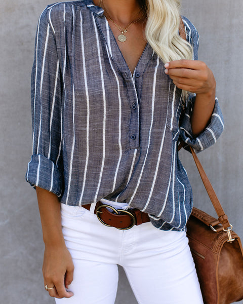 Crisp Air Button Down Embroidered Top - Denim