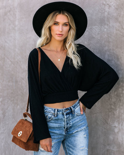 Crossroads Crop Knit Top - Black