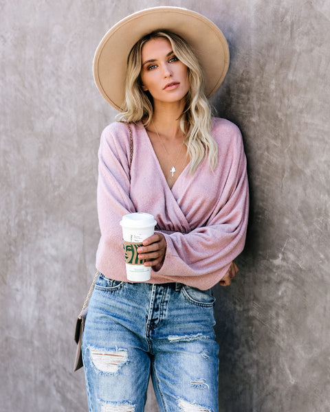 Crossroads Crop Knit Top - Mauve - FINAL SALE