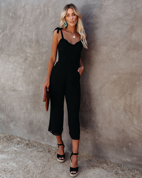 Crowd Pleaser Pocketed Tie Jumpsuit