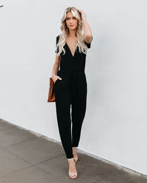 Crushin' On You Pocketed Jumpsuit - Black