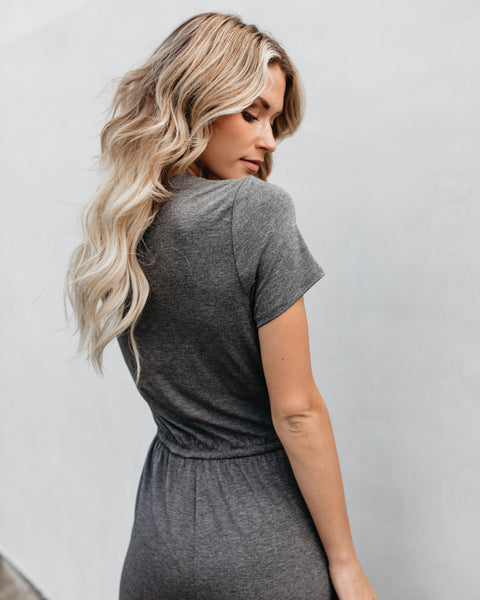 Crushin' On You Pocketed Jumpsuit - Heather Charcoal - FINAL SALE