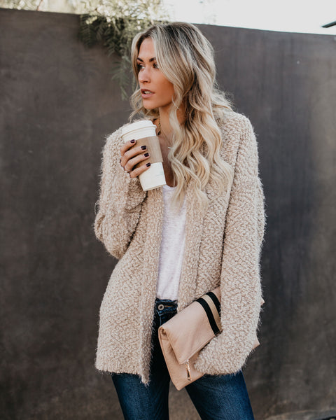 Cuddly Wuddly Hooded Cardigan - Latte