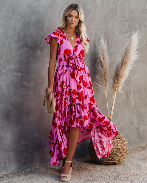 PREORDER - Cupid's Arrow High Low Pocketed Tie Maxi Dress