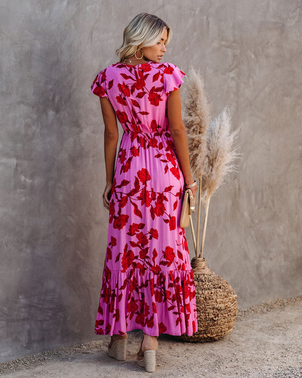 Cupid's Arrow High Low Pocketed Tie Maxi Dress