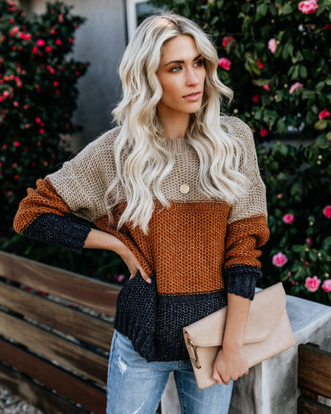 Cup Of Coffee Knit Colorblock Sweater - Mocha/Rust