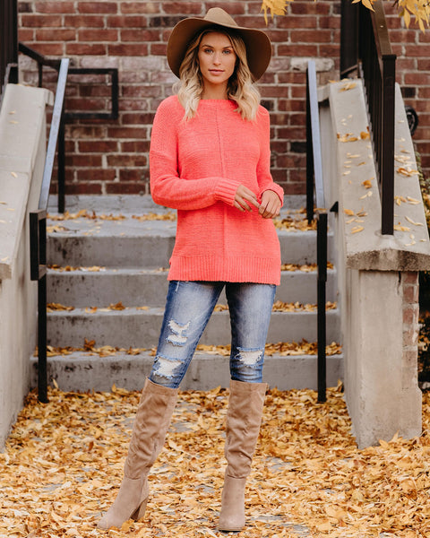 Cute As A Button Knit Sweater - Coral - FINAL SALE
