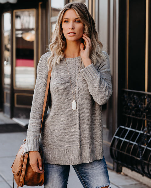 Cute As A Button Knit Sweater - Grey - FINAL SALE
