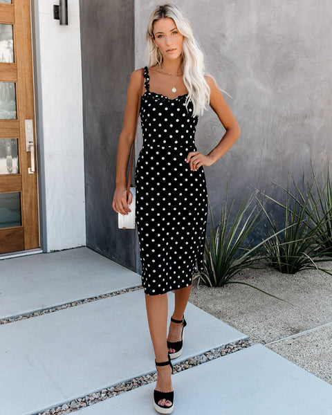 Cutesy Polka Dot Tie Back Midi Dress - Black