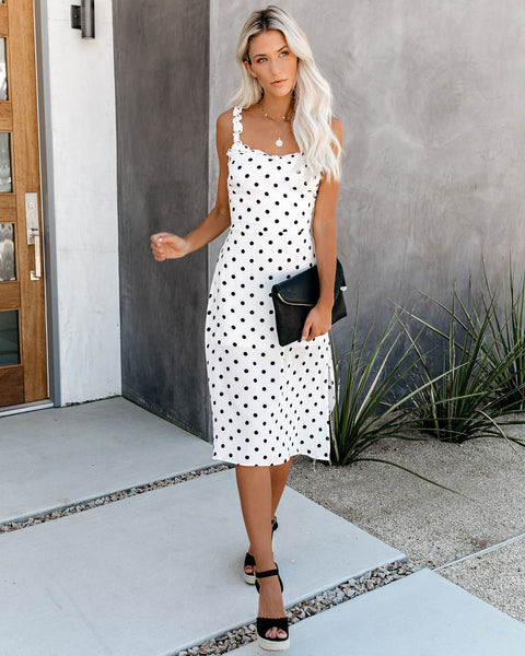 Cutesy Polka Dot Tie Back Midi Dress - White