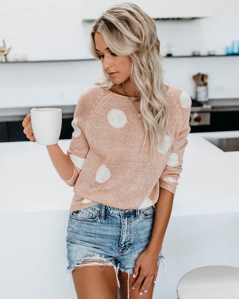 Cutie Pie Polka Dot Knit Sweater - Peach