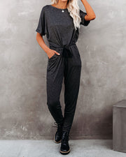 Cyclone Pocketed Ribbed Knit Jumpsuit