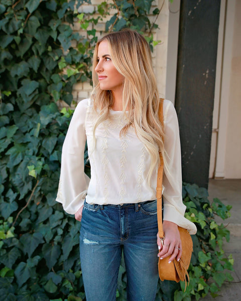 Cynthia Embroidered Blouse - Ivory - FINAL SALE