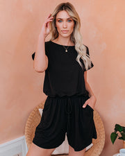 Dahlia Pocketed Knit Romper - Black