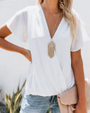 Daily Romance Drape Top - White
