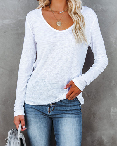 Dale Cotton + Modal Long Sleeve Top - White