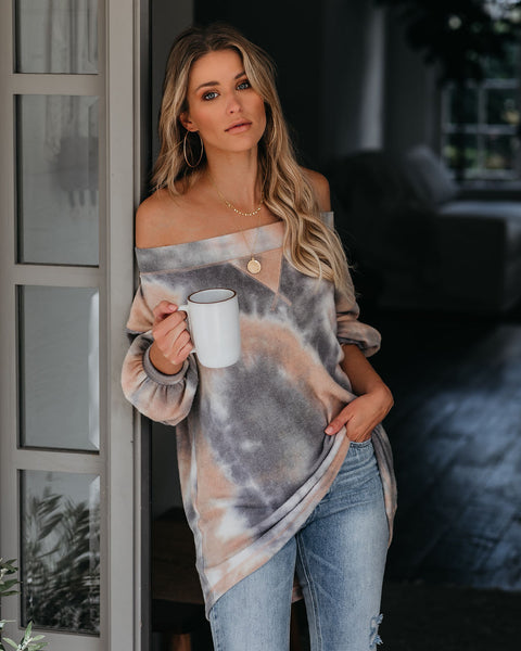 Dale Off The Shoulder Tie Dye Knit Top