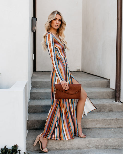 Dali Striped Wrap Maxi Dress