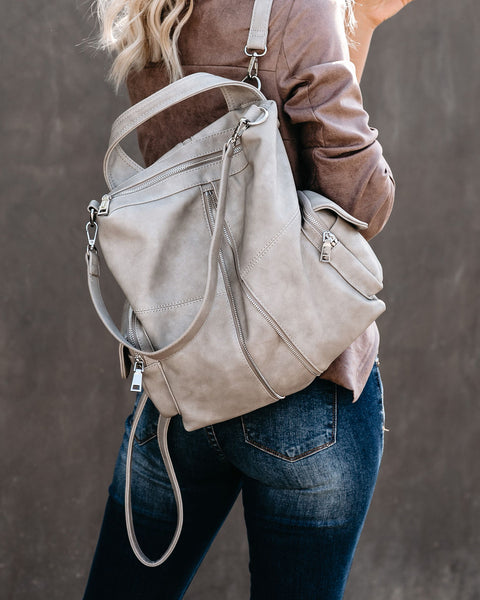 Dallas Vegan Leather Backpack - Grey
